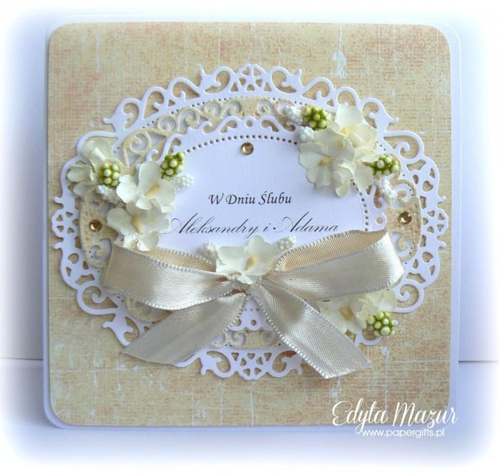 Biało-żółta kartka na ślub Aleksandry i Adama