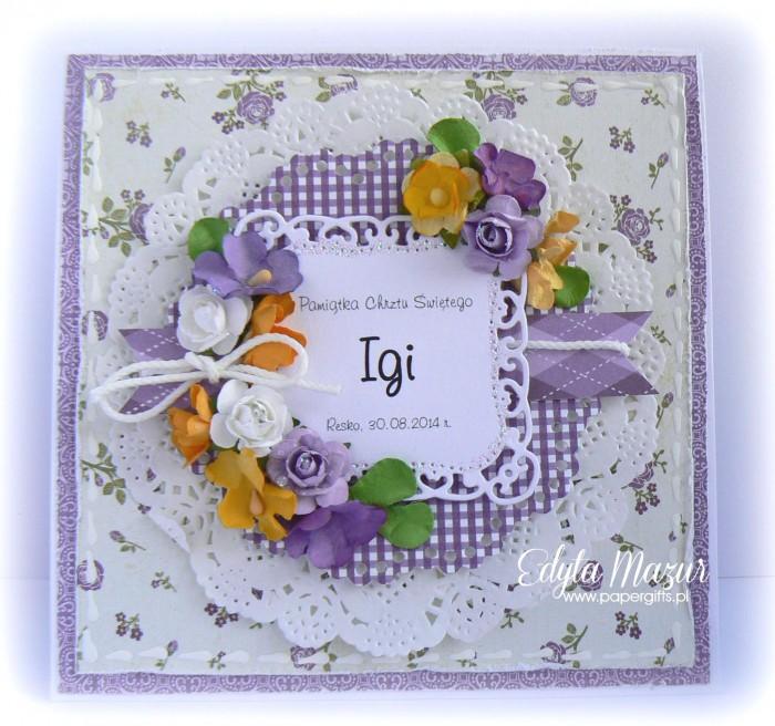 Fioletowa kartka na chrzest Igi
