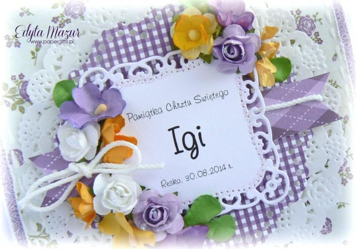 Fioletowa kartka na chrzest Igi1