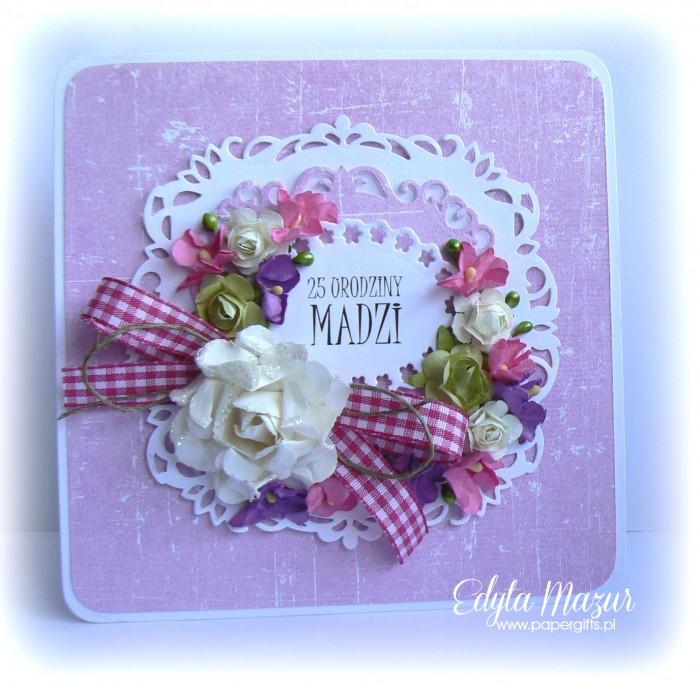 Fioletowo-różowa kartka na urodziny Madzi