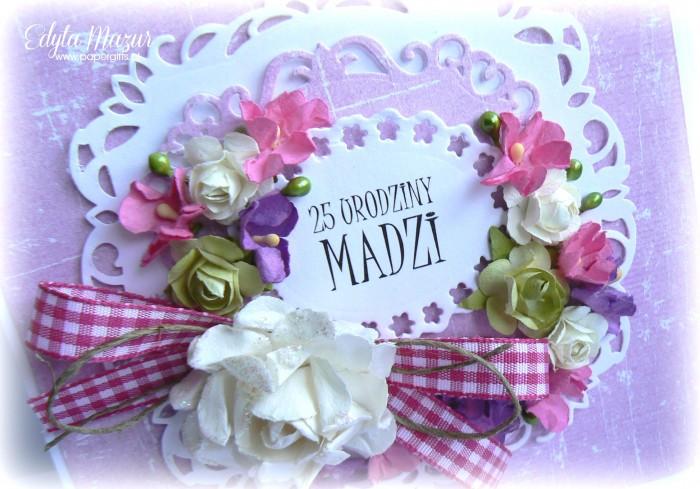 Fioletowo-różowa kartka na urodziny Madzi1
