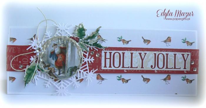 Gałązka ostrokrzewu z Mikołajem - kartka bożonarodzeniowa