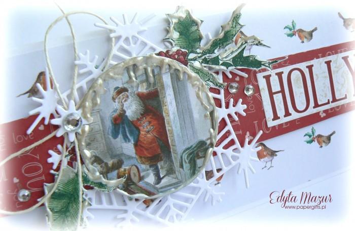 Gałązka ostrokrzewu z Mikołajem - kartka bożonarodzeniowa1