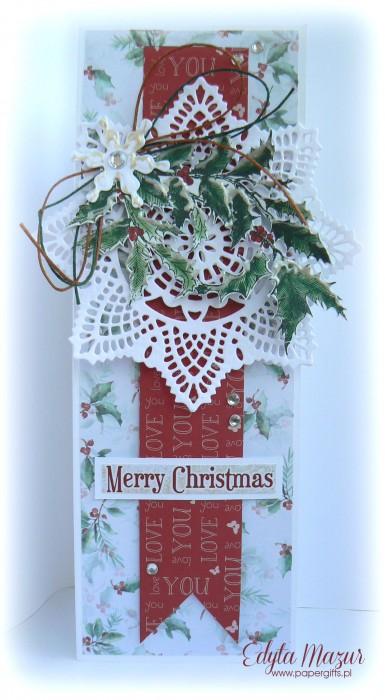 Gałązka ostrokrzewu ze  śnieżynką - kartka bożonarodzeniowa