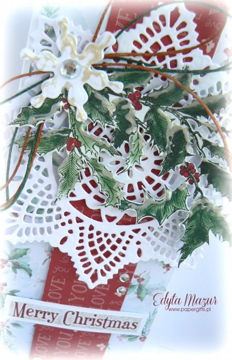 Gałązka ostrokrzewu ze  śnieżynką - kartka bożonarodzeniowa1