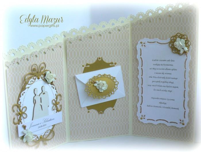 Kremowo-złota katka ślubna dla Joanny i Sebastiana2