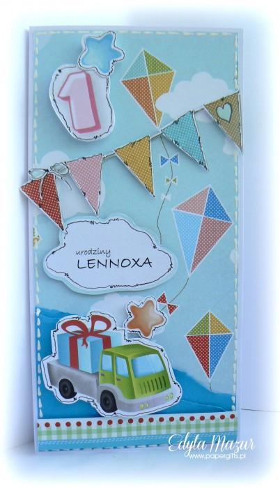 Niebieska z samochodem - kartka na urodziny Lenoxa