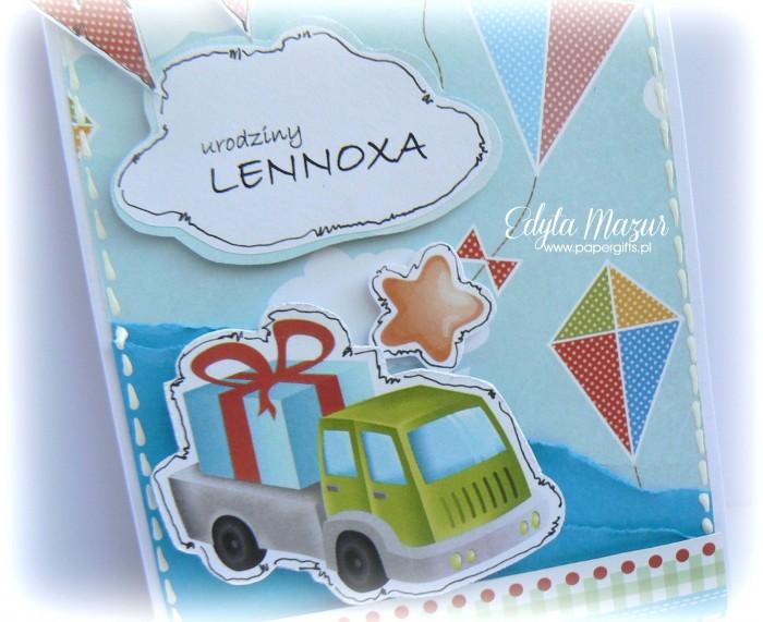 Niebieska z samochodem - kartka na urodziny Lenoxa1