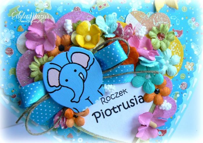 Niebieskie serduszko ze słonikiem - kartka na urodziny Piotrusia1