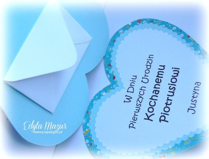 Niebieskie serduszko ze słonikiem - kartka na urodziny Piotrusia2