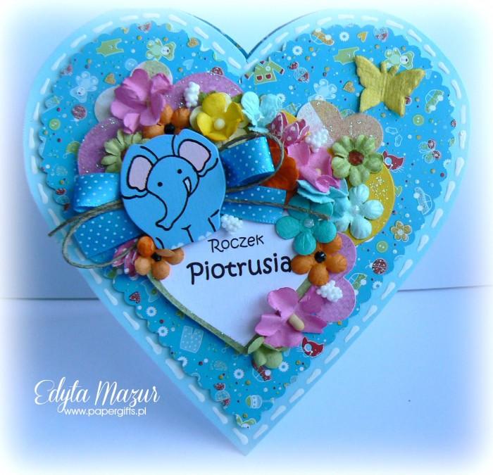 Niebieskie serduszko ze słonikiem - kartka na urodziny Piotrusia