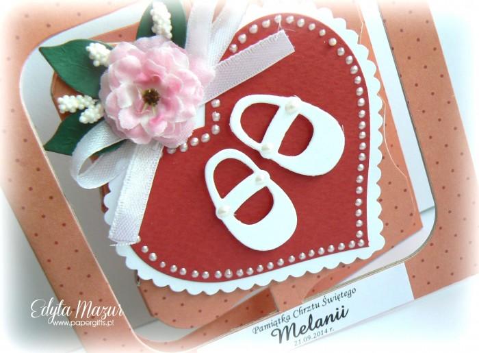Różowa z bucikami - kartka na chrzest Melanii1