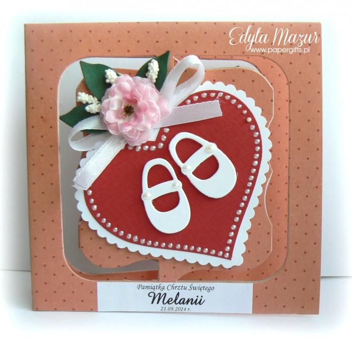 Różowa z bucikami - kartka na chrzest Melanii