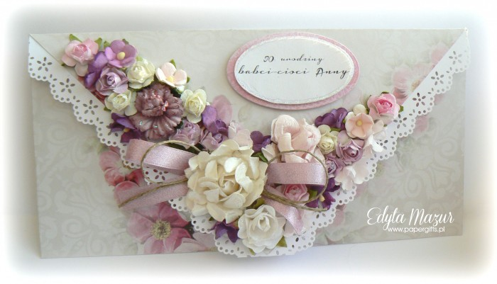 Szaro-różowo-fioletowa - kartka kopertowa dla Anny