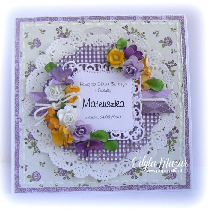 Fioletowa kartka na chrzest Mateuszka