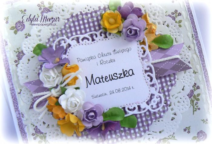 Fioletowa kartka na chrzest Mateuszka1