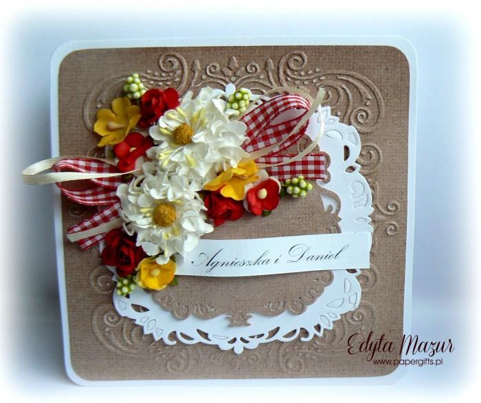 Biało-czerwono-żółty bukiet kartka ślubna