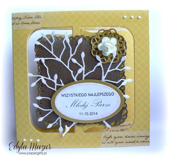 Miodowo-czekoladowa kartka na ślub