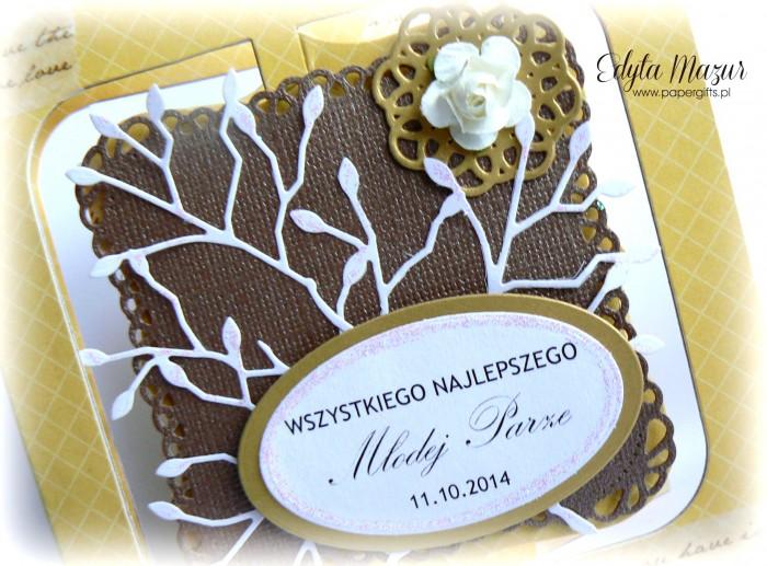 Miodowo-czekoladowa kartka na ślub1