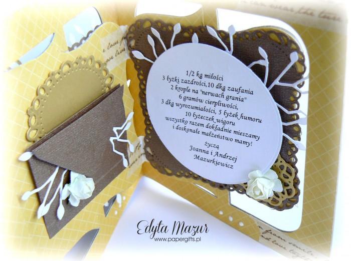 Miodowo-czekoladowa kartka na ślub2