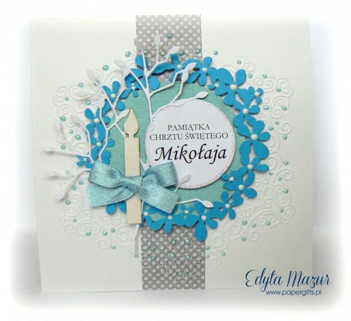 Niebieski wianek kartka na chrzest