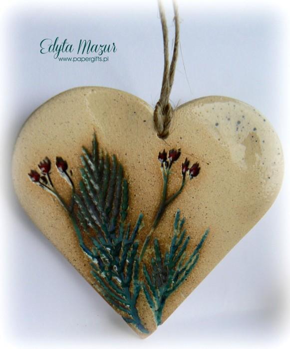 Polne kwiaty - serce z ceramiki