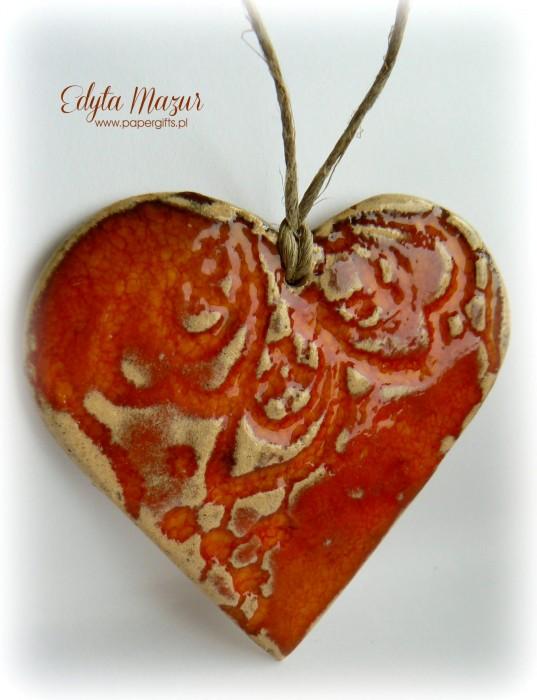 Pomarańczowe - serce z ceramiki