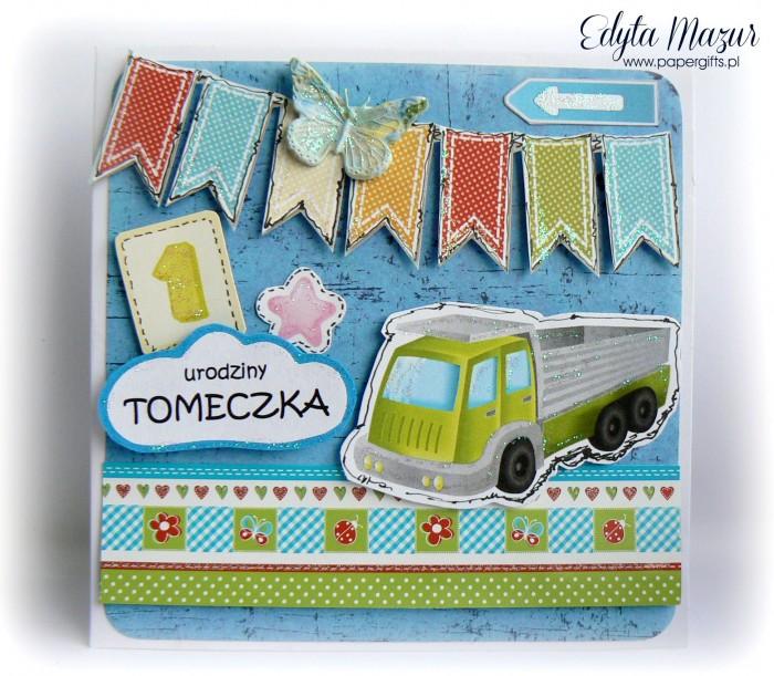 Zielona ciężarówka - kartka na 1 urodziny