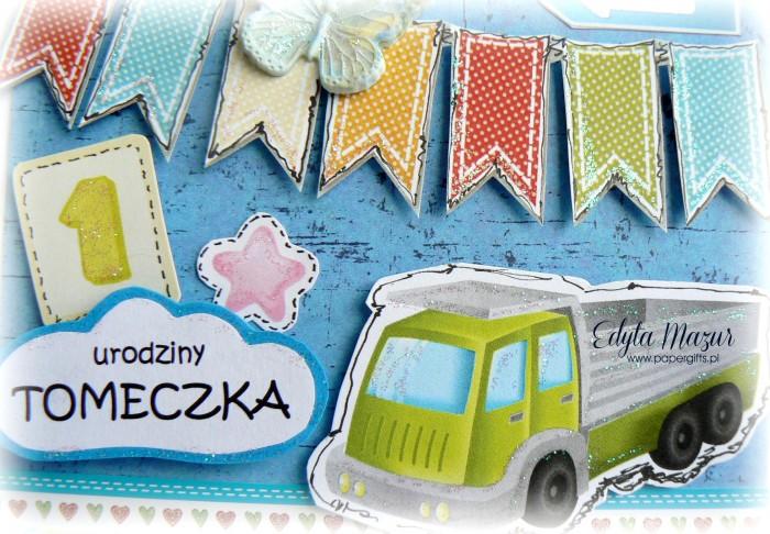 Zielona ciężarówka - kartka na 1 urodziny1