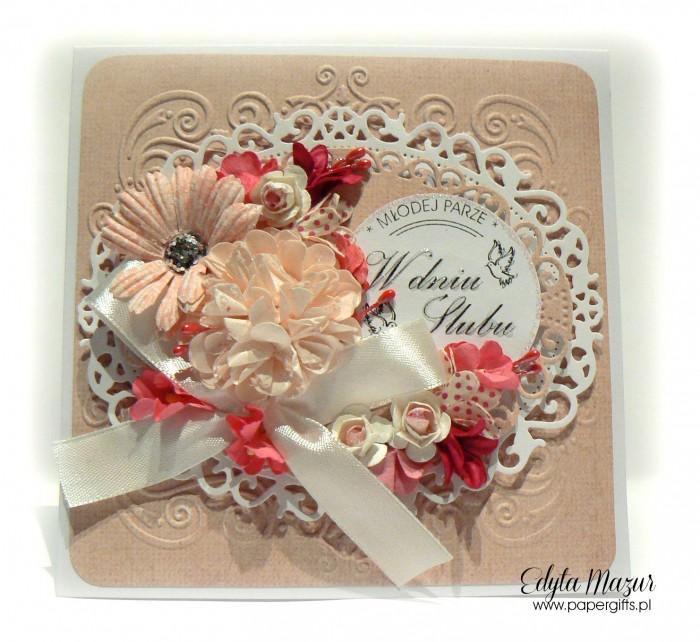 Beżowo-biała - kartka ślubna