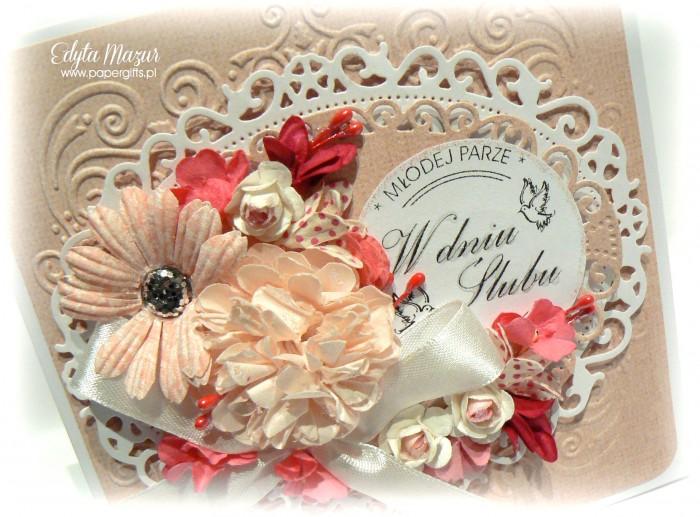Beżowo-biała - kartka ślubna1