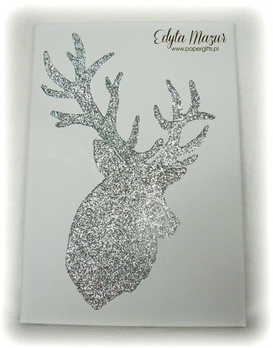 Brokatowy obraz - głowa jelenia