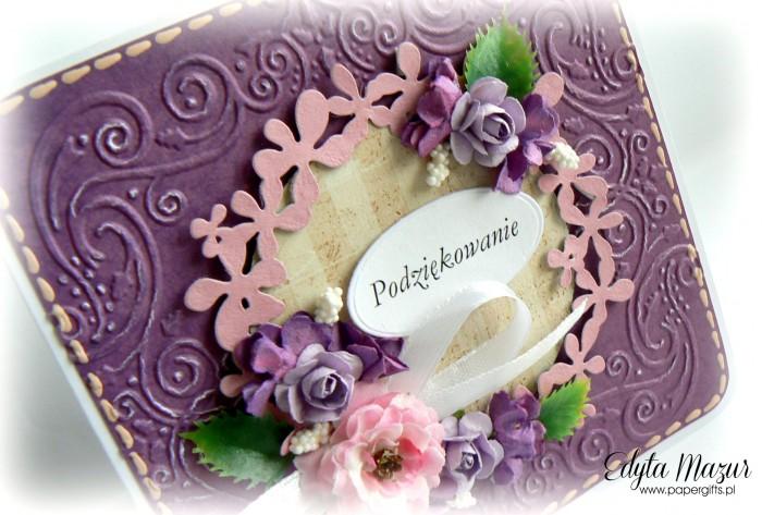 Fioletowa z wiankiem i fioletowymi kwiatami - Podziękowanie1
