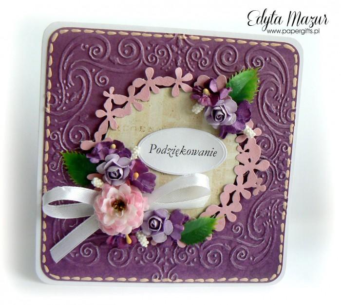 Fioletowa z wiankiem i fioletowymi kwiatami - Podziękowanie2