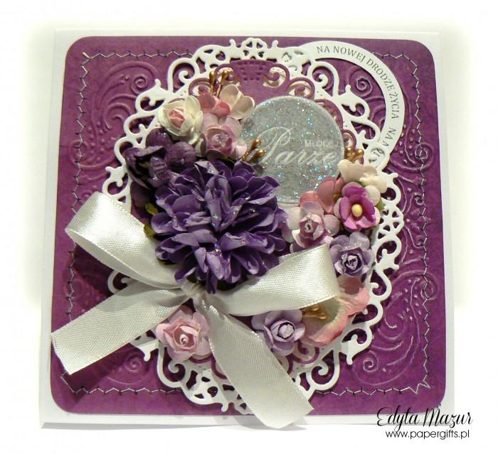 Fioletowo-biała - kartka ślubna