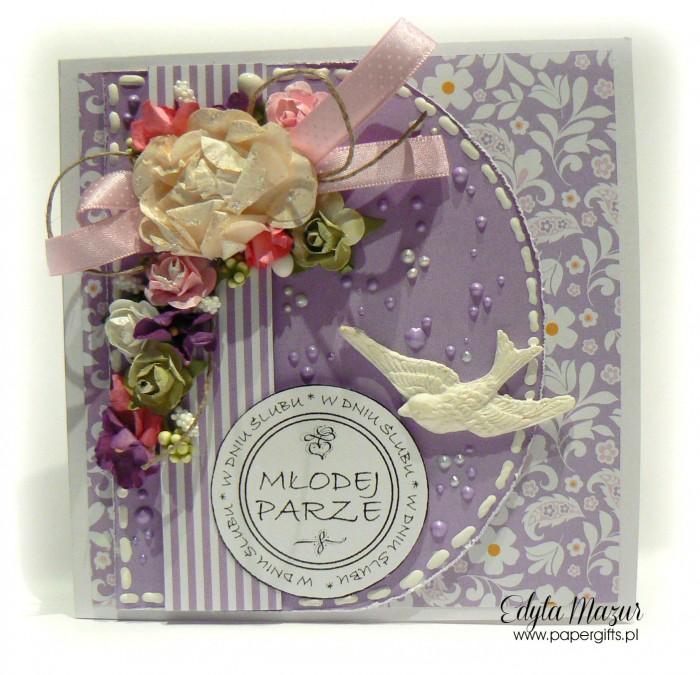 Fioletowo-biała z ptaszkiem - kartka ślubna