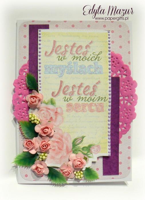 Fioletowo-różowa z różami