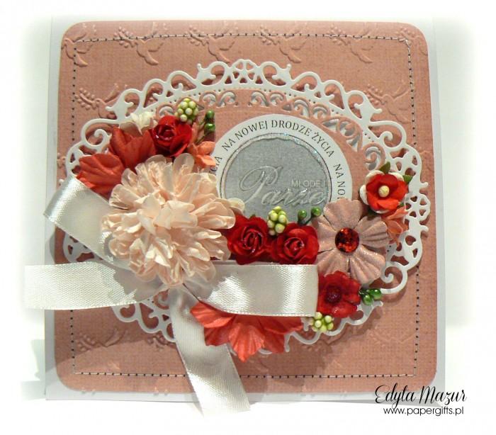 Różowo-biała - kartka ślubna