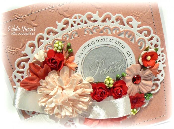Różowo-biała - kartka ślubna1