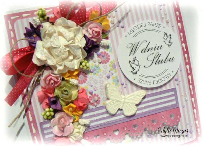 Różowo-fioletowa z motylem - kartka ślubna1