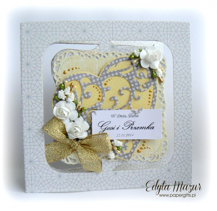 Szaro-żółta kartka na ślub dla Gosi i Przemka