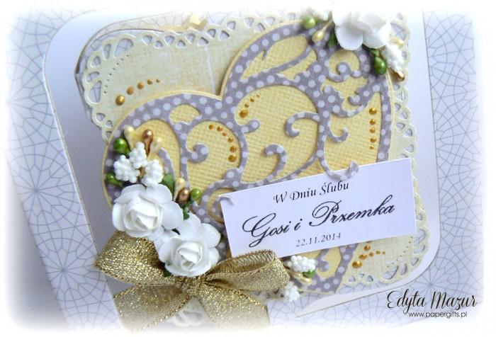 Szaro-żółta kartka na ślub dla Gosi i Przemka1