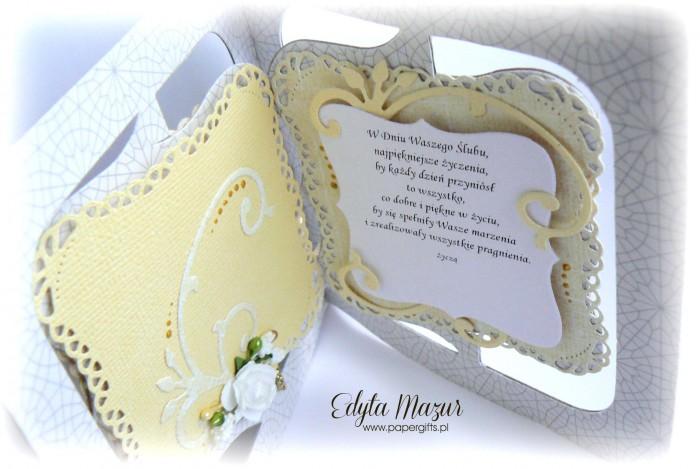 Szaro-żółta kartka na ślub dla Gosi i Przemka2