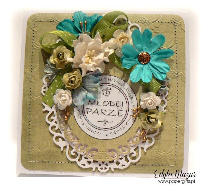 Zielono-turkusowa - kartka ślubna