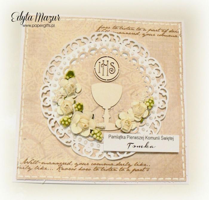 Beżowa z kielichem i białymi różami - Pamiątka Komunii Świętej Tomka
