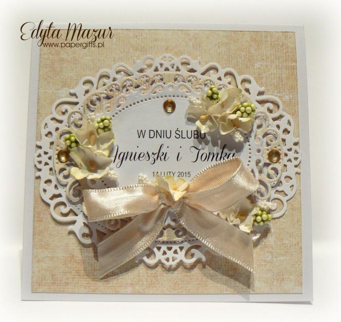 Biało-żóła kartka na ślub Agnieszki i Tomka