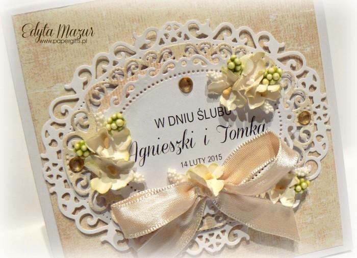 Biało-żóła kartka na ślub Agnieszki i Tomka1