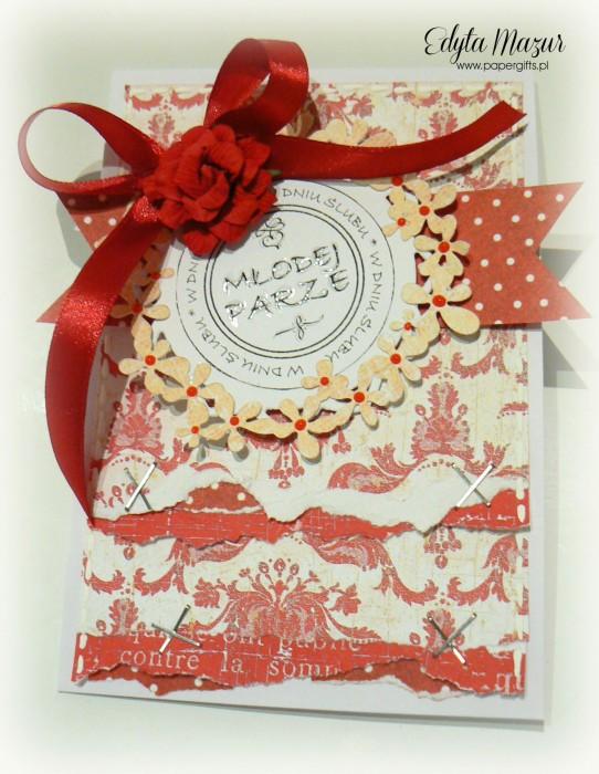 Biało-czerwona w kropki - kartka na ślub