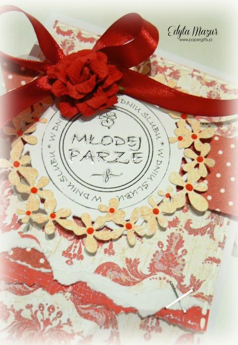 Biało-czerwona w kropki - kartka na ślub1