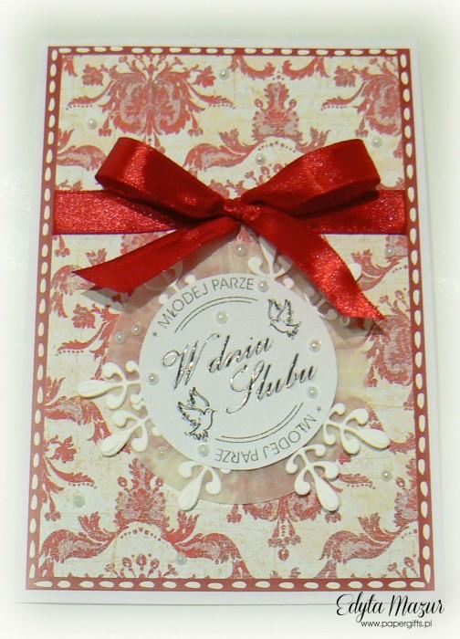 Biało-czerwony wzorek - kartka na ślub